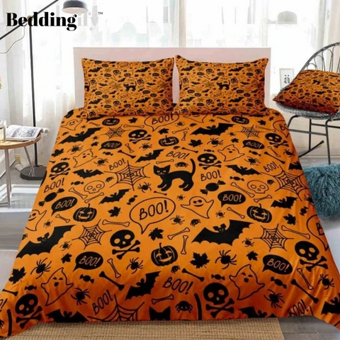 Halloween Skull and Bats Orange Bedding Set