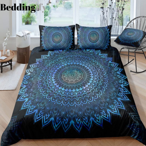 Black Blue Mandala Pattern Bedding Set - Beddingify