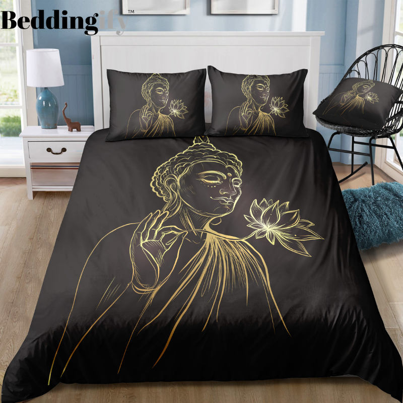 Buddha Holding Lotus Bedding Set - Beddingify