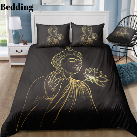 Image of Buddha Holding Lotus Bedding Set - Beddingify