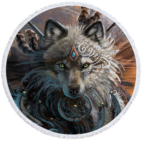 Image of Warchief Wolf Round Beach Towel Set - Beddingify