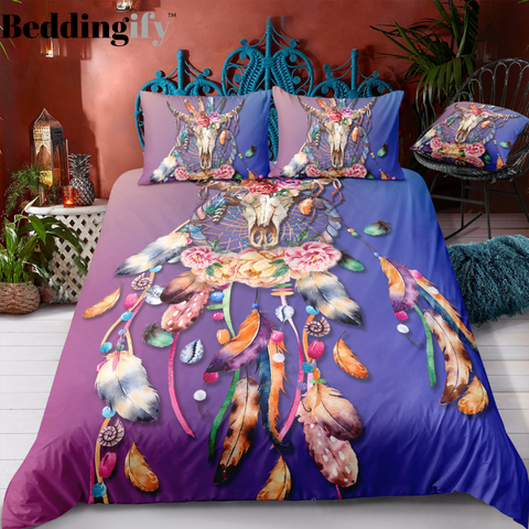 Blue Purple Butterflies Dreamcatcher Bedding Set - Beddingify