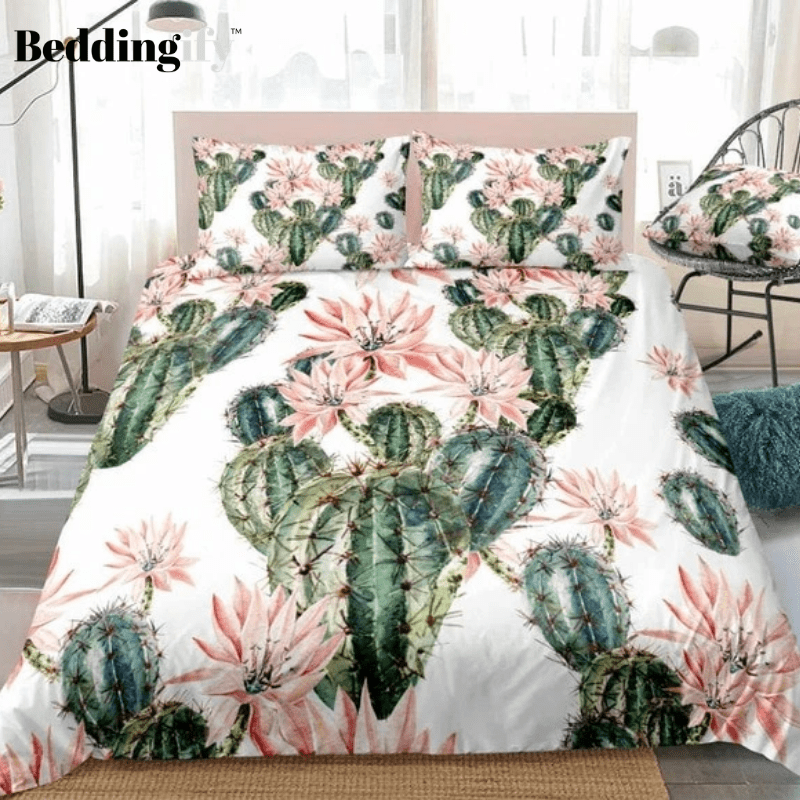 Cactus with Red Flower Bedding Set - Beddingify