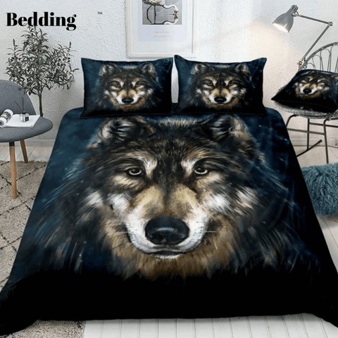 Image of Watercolor Wolf Head Bedding Set - Beddingify