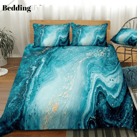 Mint Gold Glitter Turquoise Bedding Set - Beddingify