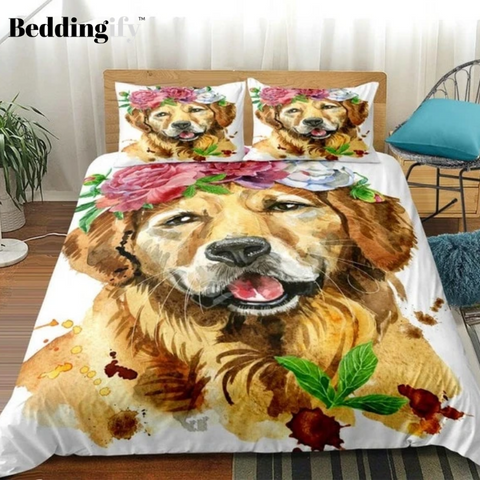Image of Golden Retriever Dog Comforter Set - Beddingify