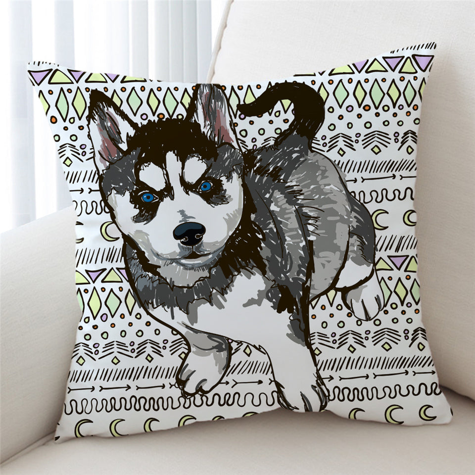 Pencil Husky Cub Cushion Cover - Beddingify