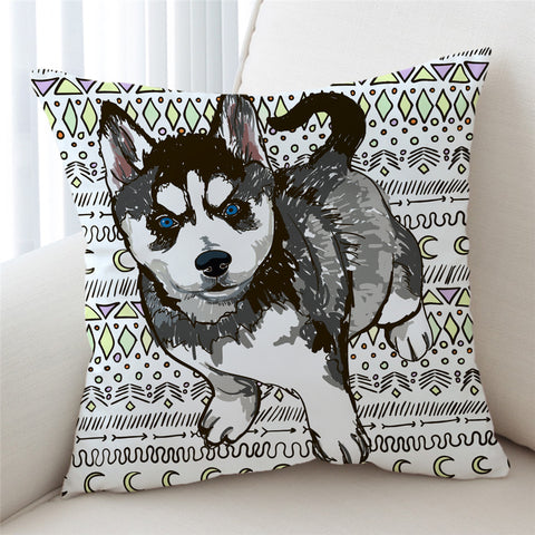 Image of Pencil Husky Cub Cushion Cover - Beddingify