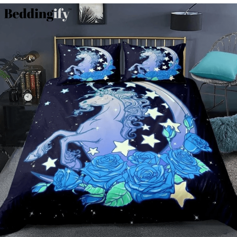3D Star and Moon Patterns Unicorn Bedding Set - Beddingify