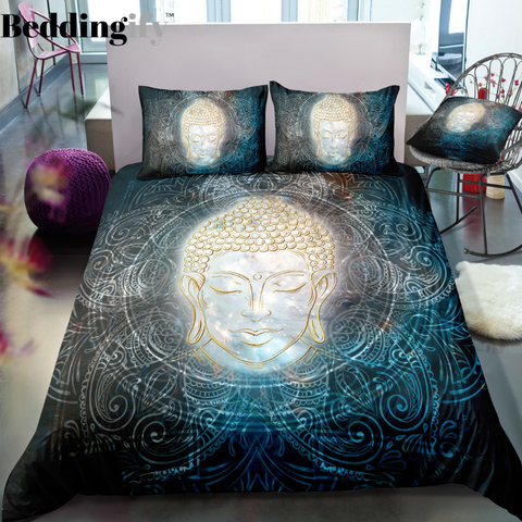 Buddha in the Lotus Mandala Space Bedding Set - Beddingify