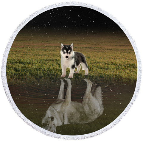 Image of Baby Husky Reflection Round Beach Towel Set