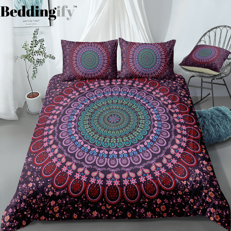 Purple Flowers Mandala Pattern Bedding Set - Beddingify