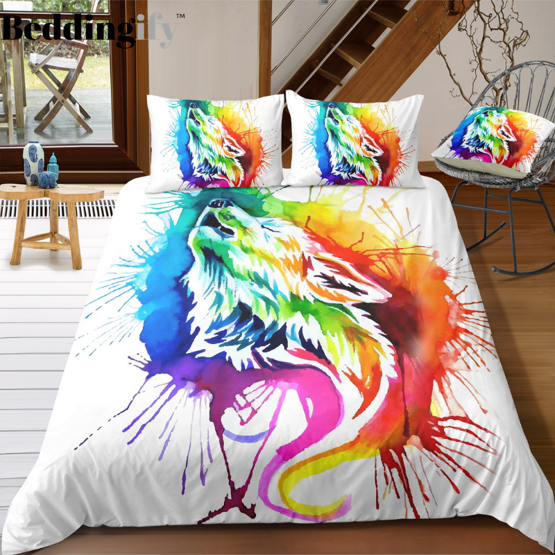 Colorful Howling Wolf Bedding Set - Beddingify