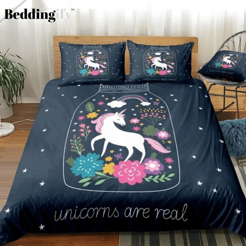 Purple Floral Unicorn Bedding Set - Beddingify