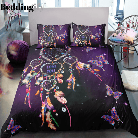 Image of Purple Butterflies Dreamcatcher Bedding Set - Beddingify