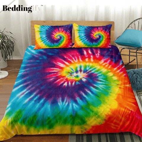Image of Tie-dyed Purple Blue Red Bedding Set - Beddingify