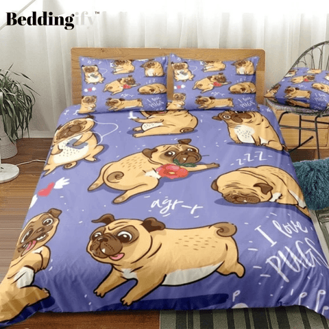 Image of Cartoon Pugs Comforter Set - Beddingify