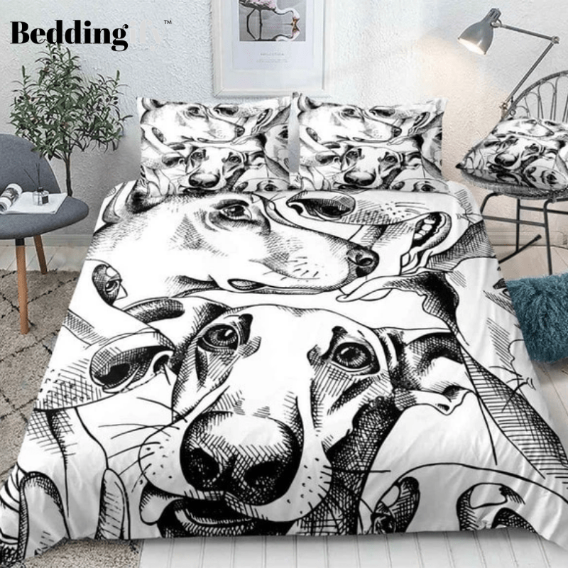 Black and White Dogs Bedding Set - Beddingify
