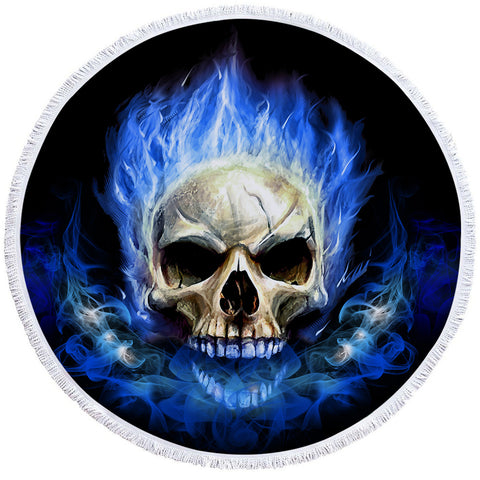 Image of Blue Flaming Skull Round Beach Towel Set - Beddingify