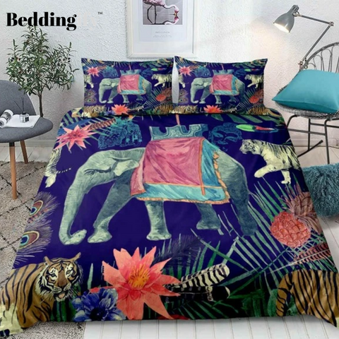 Image of Tropical Elephant and Tiger Bedding set - Beddingify