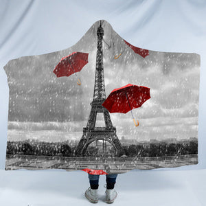 Rainy Paris SW1533 Hooded Blanket
