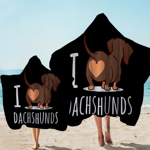 Image of I Love Dachshunds Black Hooded Towel