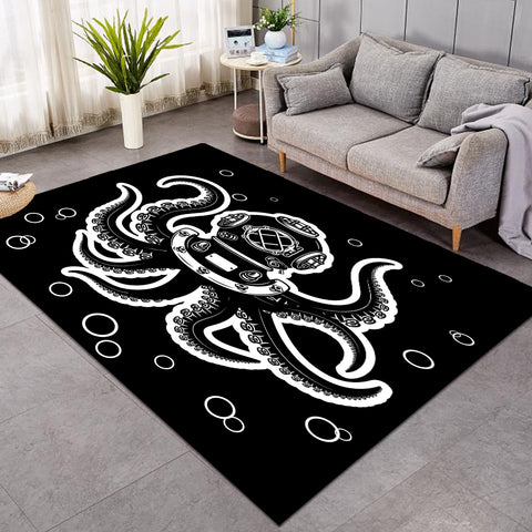 Image of Diving Octopus Black SW0063 Rug