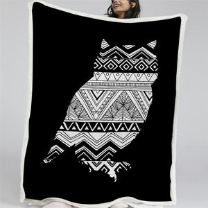 African Owl Sherpa Fleece Blanket