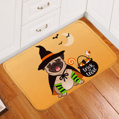 Image of Halloween Pug Orange Door Mat