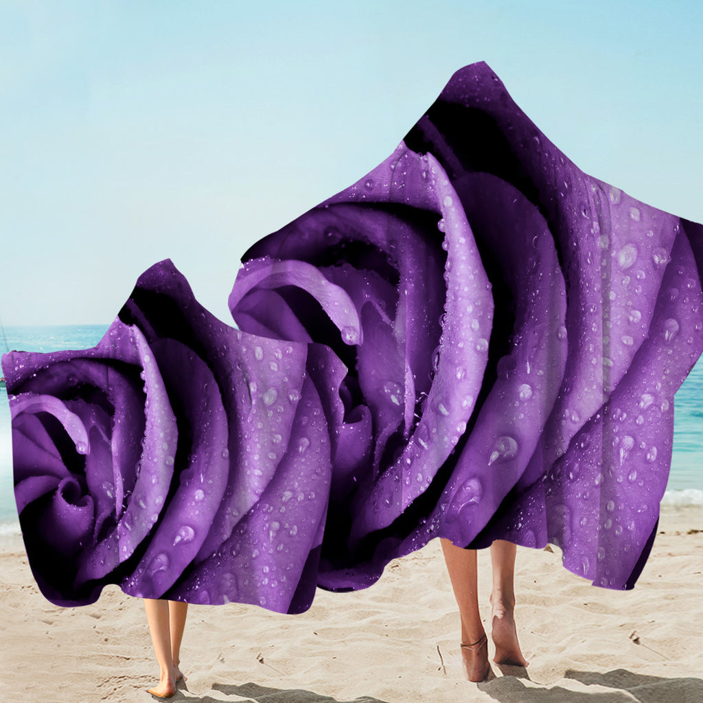 3D Purplish Rose Petal Hooded Towel