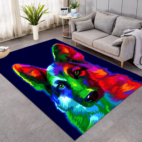 Image of Multicolored Wolf Dark Blue SW0044 Rug