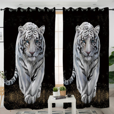 3D White Tiger Black SWCG0031 2 Panel Curtains