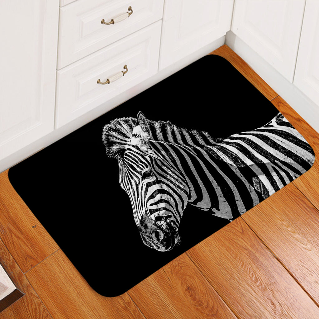 Zebra Black Door Mat