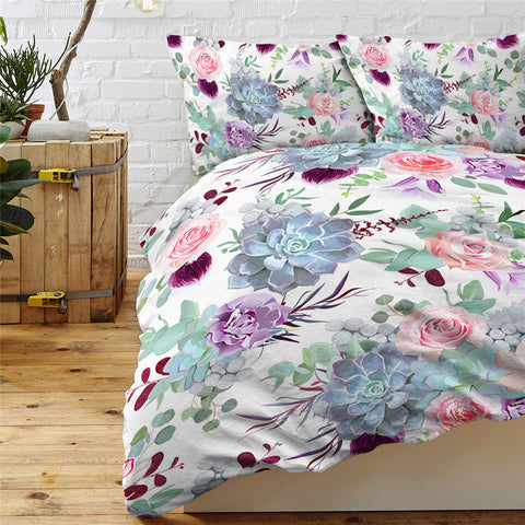 Image of Floral Colorful White Themed Bedding Set - Beddingify