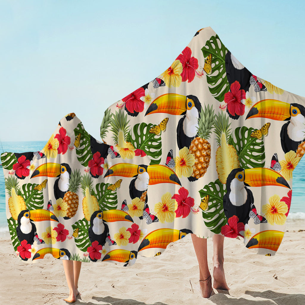 Tropical Toucan Patterns Hooded Towel