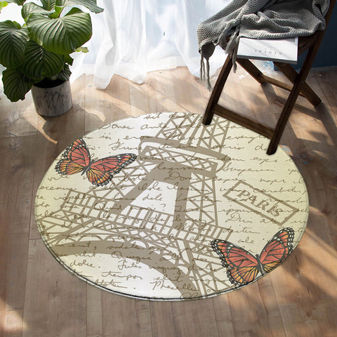 Image of Paris Letter SW1537 Round Rug