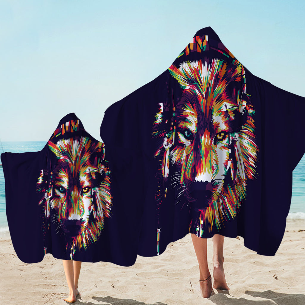 Multicolored Tribal Wolf Hooded Towel