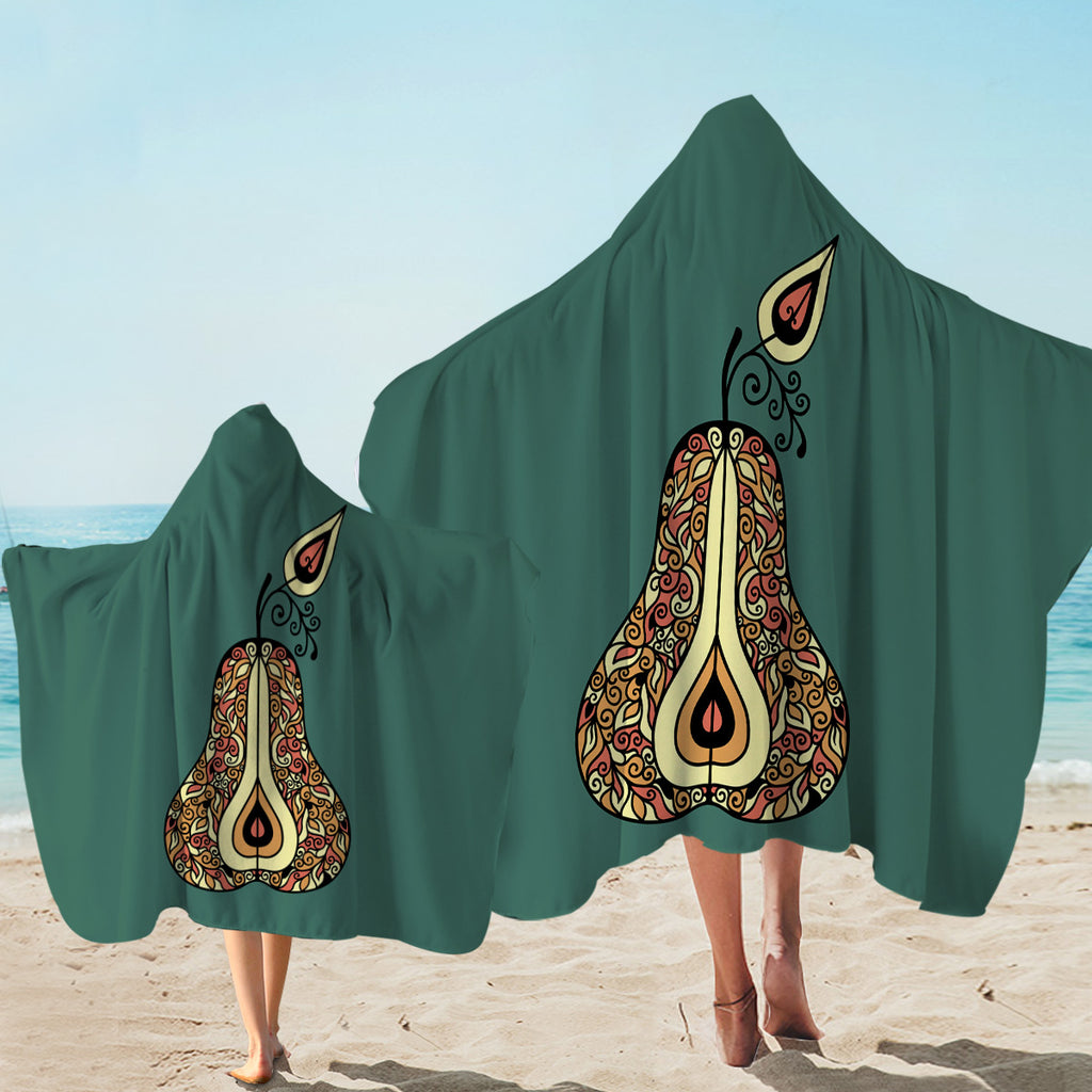 Patterned Pear Hooded Towel