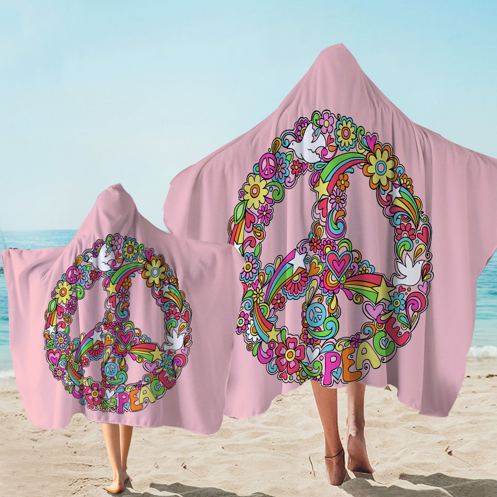 Peace Wreath Pink Hooded Towel