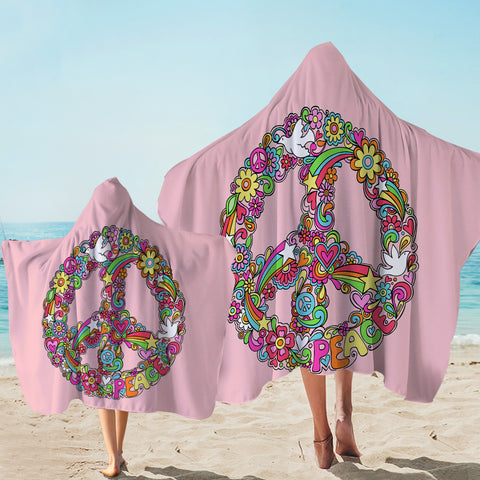 Image of Peace Wreath Pink Hooded Towel