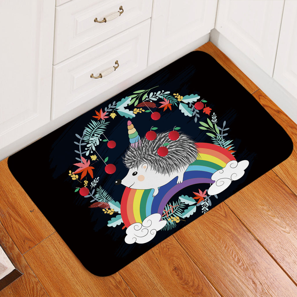 Magical Hedgehog Black Door Mat