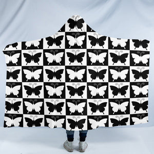 Checked Butterflies SW2328 Hooded Blanket