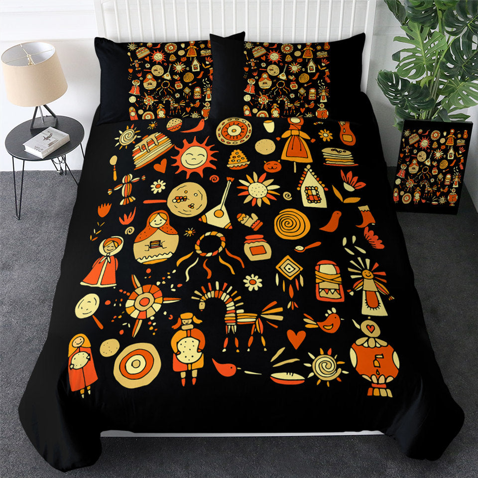 Slavic Icons Black Bedding Set - Beddingify