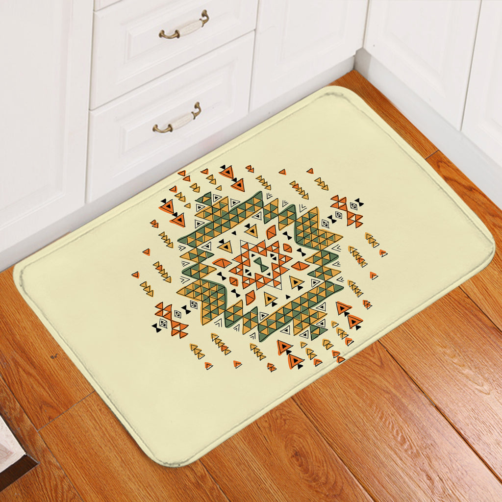 Triangle Patterned Tan Door Mat