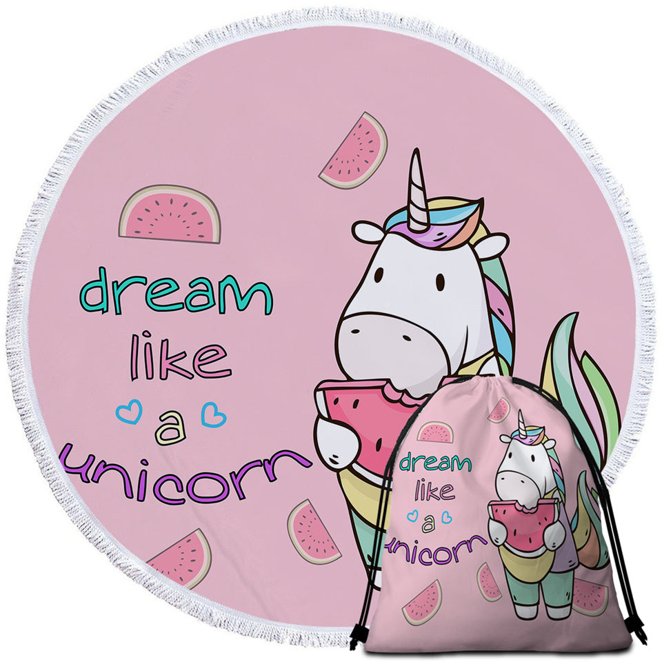 Dream Like A Unicorn Round Beach Towel Set - Beddingify