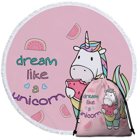 Image of Dream Like A Unicorn Round Beach Towel Set - Beddingify