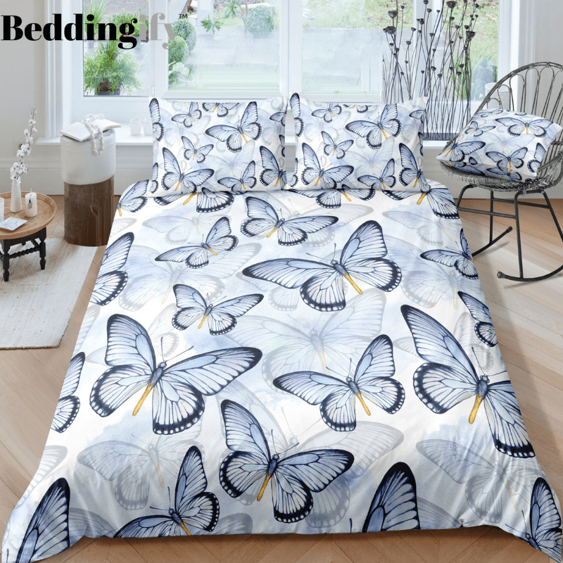 Light Blue Butterflies Bedding Set - Beddingify