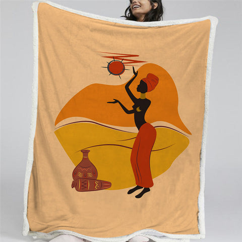 African Woman Pattern Sherpa Fleece Blanket