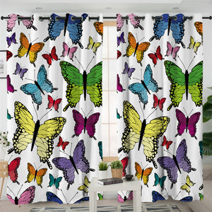 Colorful Butterflies Motif 2 Panel Curtains