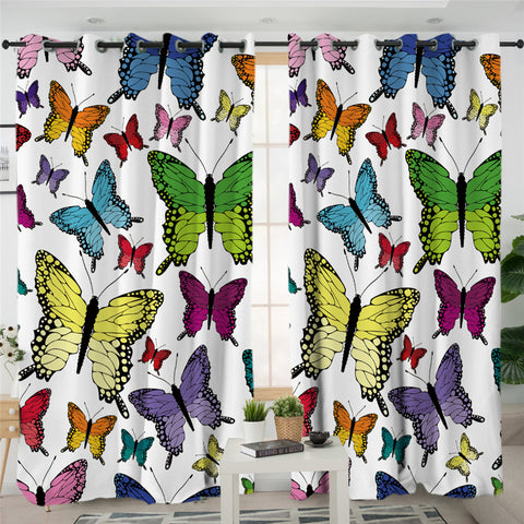 Image of Colorful Butterflies Motif 2 Panel Curtains